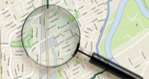 Image of Street Map with Magnifying Glass