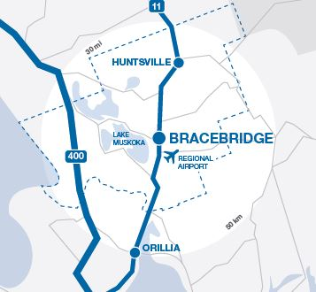 Toronto to Bracebridge Map
