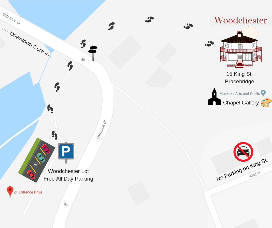 Image of google map showing Woodchester parking lot