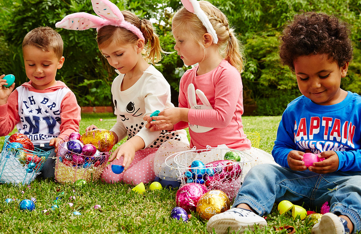 image of children with Easter eggs
