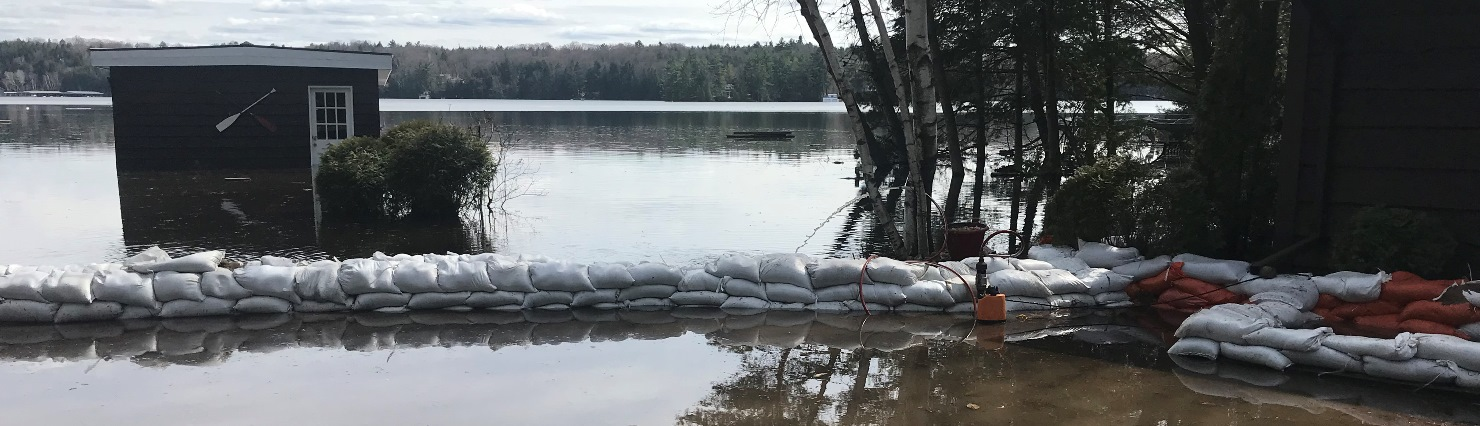 Flooded image with sandbags