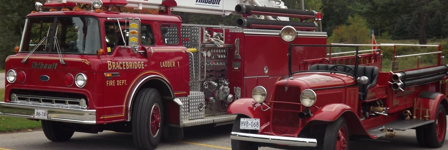 two antique fire trucks
